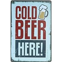 ملصق فني معدني قديم مطبوع عليه عبارة Cold Beer Here Painting Bar Pub Home Wall Decor