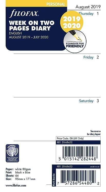 Filofax - Semana académica personal en dos páginas, año medio ...