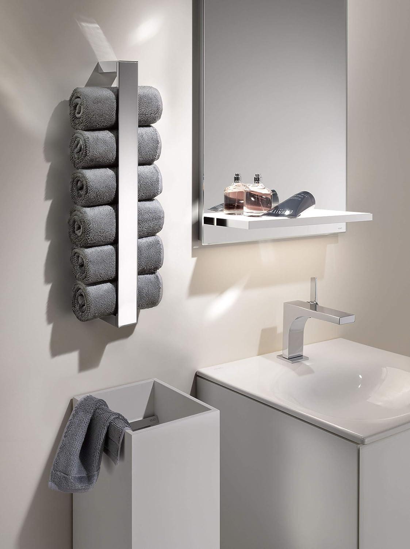 KEUCO Handtuchhalter aus Metall hochglanz verchromt einarmig vertikal 49 3cm hoch für Badezimmer und Gäste Toilette Wandmontage Edition 11