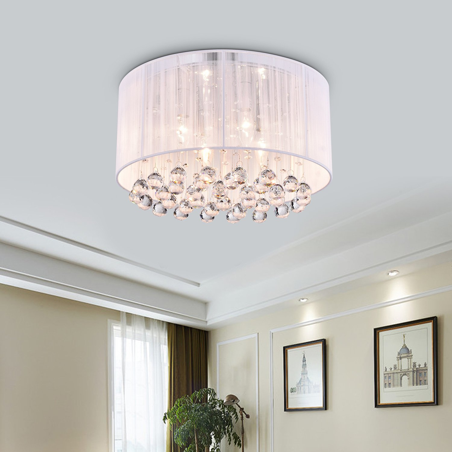 Crystal 4 Light White Drum Shade Chrome Flush Mount Chandelier Ceiling Fixture Com
