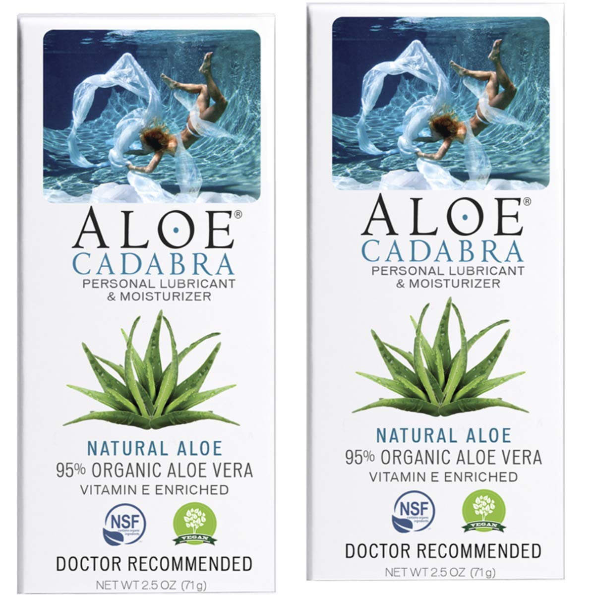 Aloe Cadabra Organic Personal Lubricant & Moisturizer, Natural Sex Lube Oral Gel for Her, Him & Couples, Unscented, 2.5 oz (Pack of 2) by Aloe Cadabra