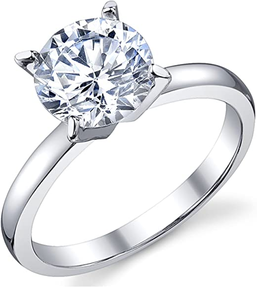 315e7d58de43f 2 Carat Round Brilliant Cubic Zirconia CZ Sterling Silver 925 Wedding  Engagement Ring Sizes 4 to 11