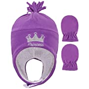 Toddlers Embroidered Fleece Winter Set Hat and Mittens,Crown Purple,6-24 Months