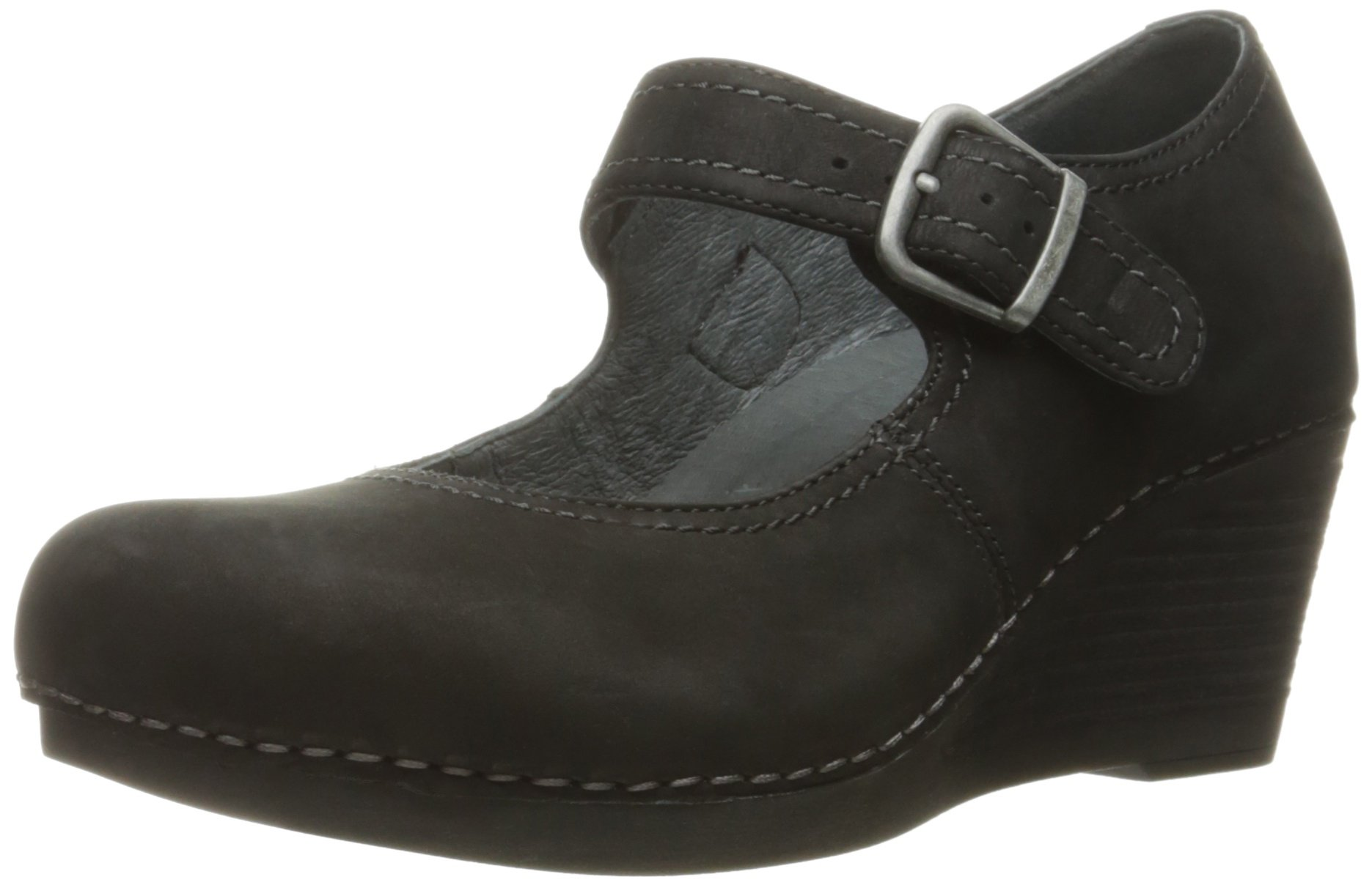 Dansko Women's Sandra Wedge Pump, Black Nubuck, 37 EU/6.5-7 M US