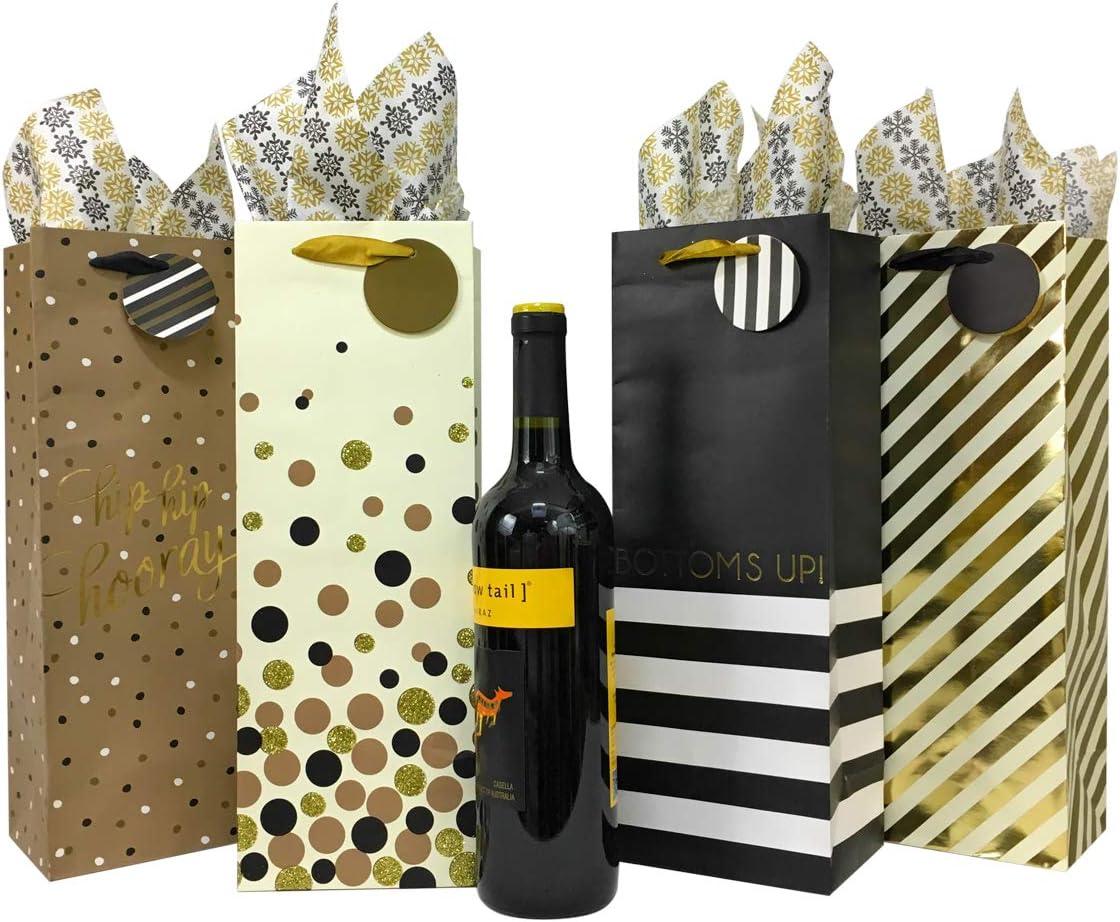 YLX Bolsas de Vino 8 Pack Prosecco y Champ/án 4.8x3.1x13.9in Elegante y Con Estilo Bolsas de Regalo Botella Vino para Vino