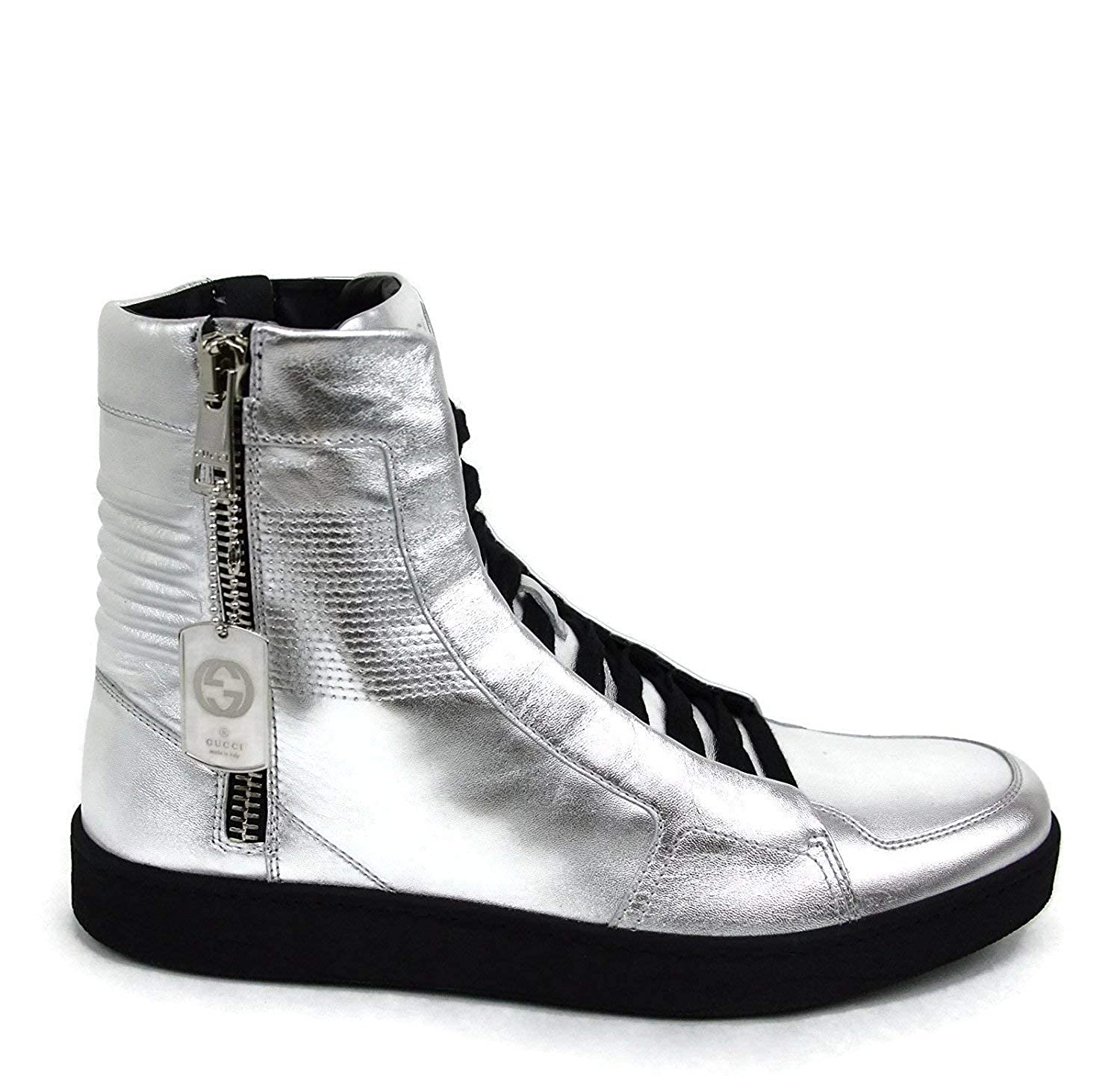 14d164d4662 Amazon.com  Gucci Men s Silver Leather Limited Edition High-top Sneakers  376191 8163  Shoes