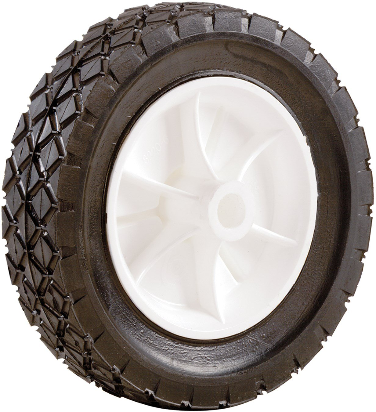 Shepherd Hardware 9613 8-Inch Semi-Pneumatic Rubber Replacement Tire, Plastic Wheel, 1-3/4-Inch Diamond Tread, 1/2-Inch Bore Offset Axle
