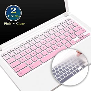 2 Pack Acer Chromebook R13 Keyboard Cover for Acer Chromebook Spin 13 CP713, Acer Chromebook R11 CB5-132T C738T Series, Acer Chromebook 11 CB3-132 CB3-131 Skin Protector(Ombre Pink+Clear)