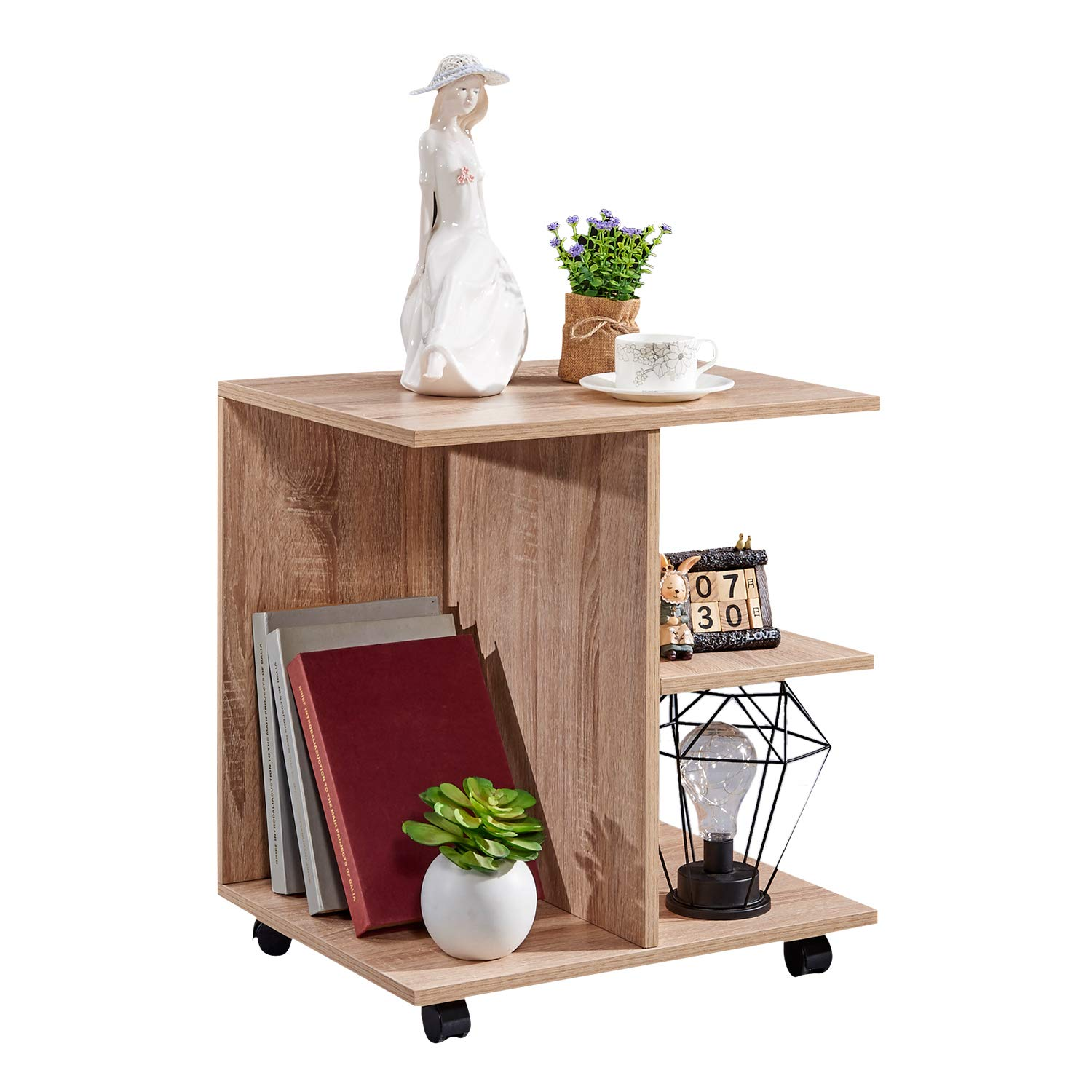 GreenForest Bedside Table Wooden 21.65''H with Lockable Wheels Nightstand Storage Shelf Printer Stand End Table for Bedroom,Oak