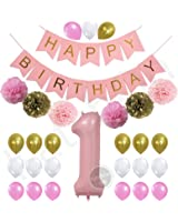 1st Birthday Girl Decorations Kit - Beautiful Pastel Colors for Baby's First Birthday Decorations - Number One Balloon - Pink Happy Birthday Banner - Gold, Light and Baby Pink Pom Poms and Balloons