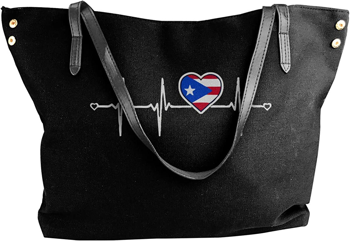 Puerto Rico Heartbeat Canvas Shoulder Bags Tote Bag For Womens Black