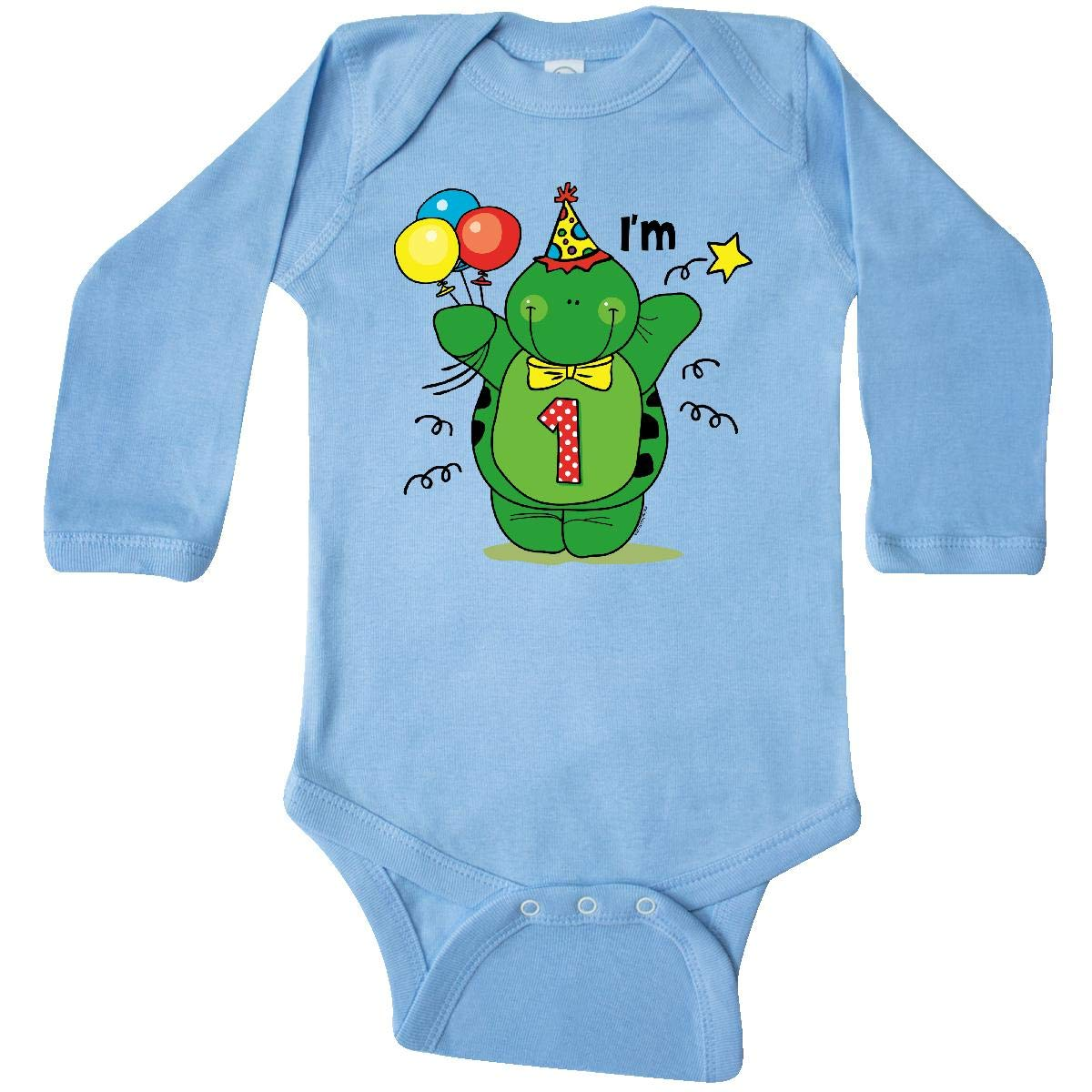 inktastic First Birthday Outfit Turtle 1 Year Old Long Sleeve Creeper