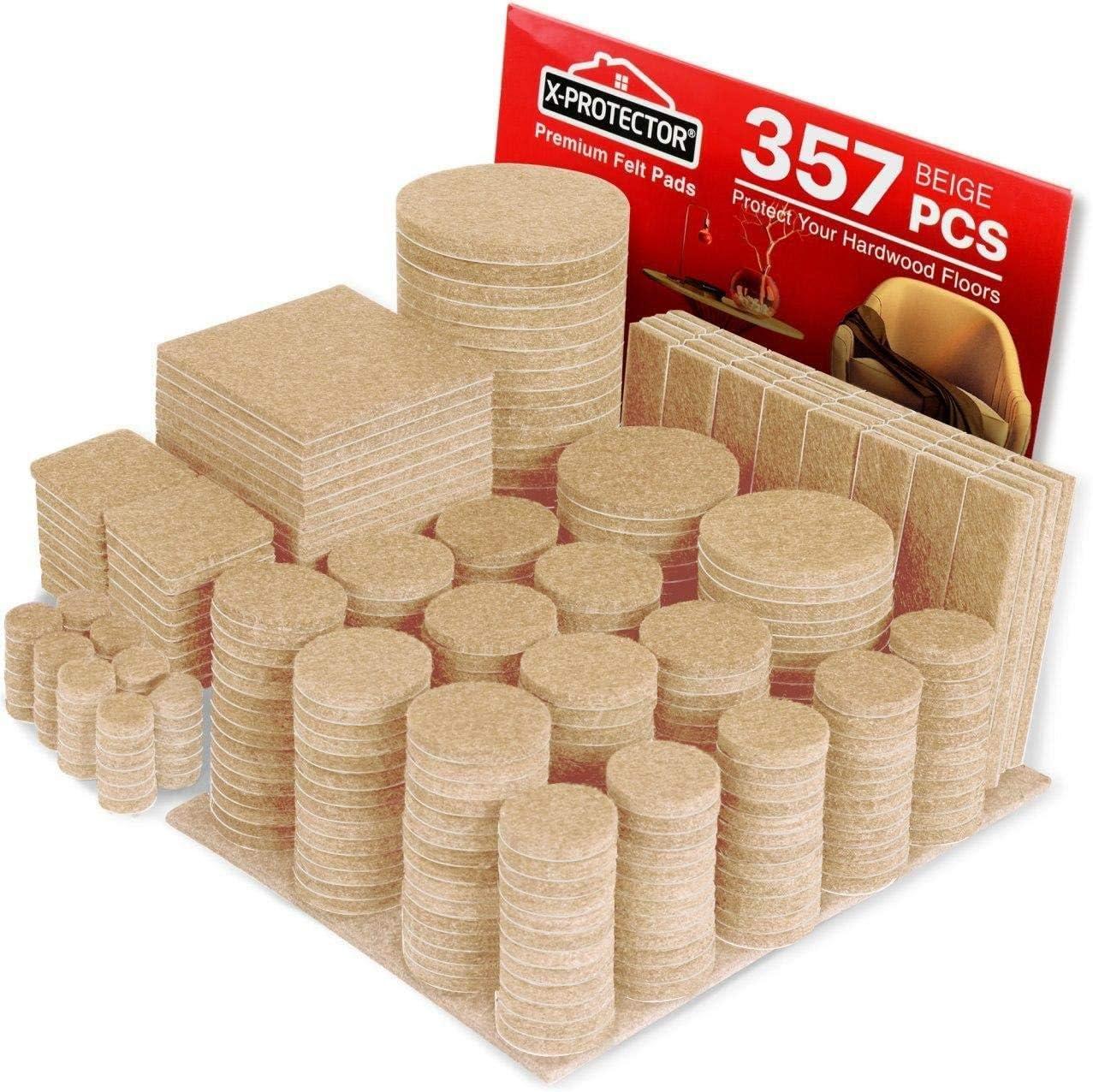 Felt Furniture Pads X-PROTECTOR - 357 Premium Felt Pads Floor Protector - Huge Pack of Chair Felts Pads for Furniture Feet - Best Furniture Pads for Hardwood Floors - Protect Your Wood Floors!