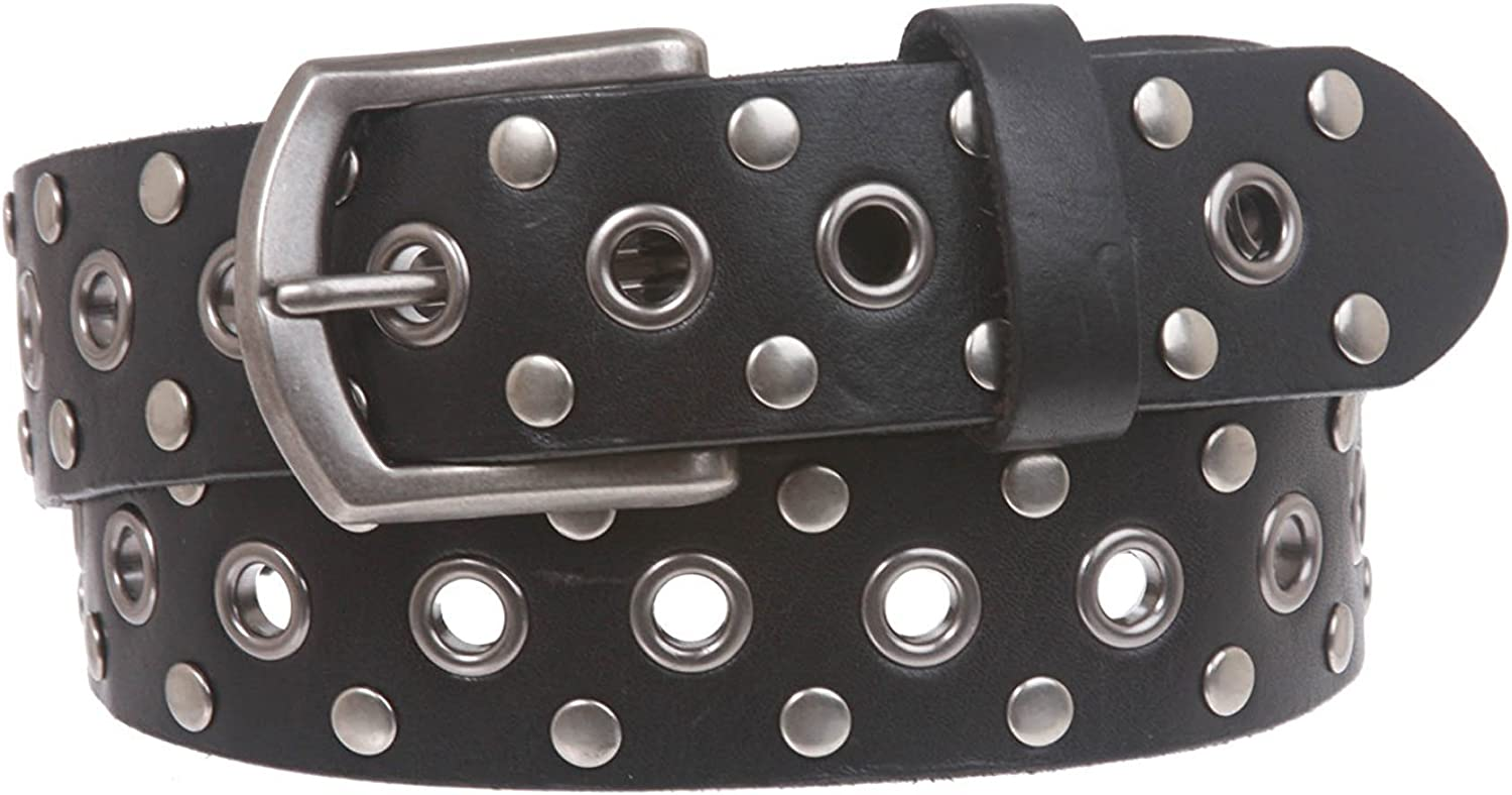 BBBelts Men Black Braided Leather Stitched Edge Silvered Rectangular Buckle Belt