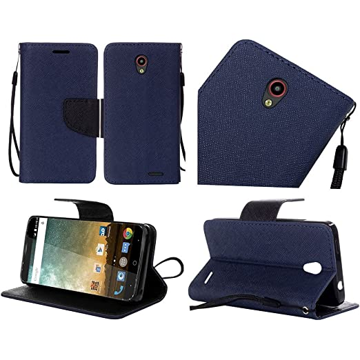 ZTE Avid Plus Z828 (MetroPcs), Luckiefind® Premium PU Leather Flip Wallet Credit Card Cover Case, Stylus Pen, Screen Protector & Wiper Accessories ...