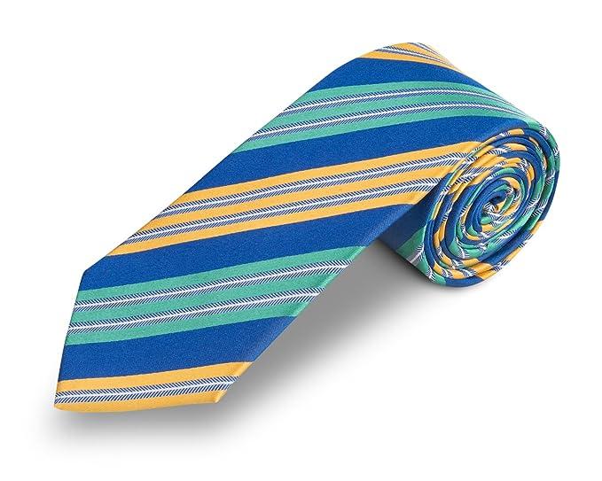 Corbata azul - corbatas de hombre azul rayas amarillas - 100% seda ...
