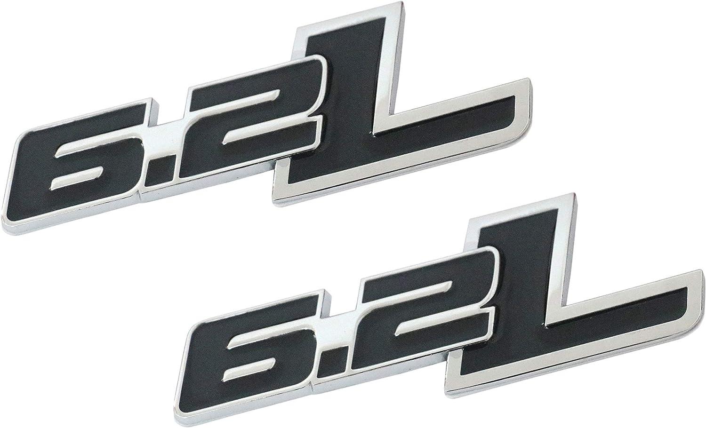 2 PCS Black Silver Border 2PCS Metal 6.2L Emblem Sticker Badges for Car Truck Bumper Fenders Dodge Ford Pickup Truck