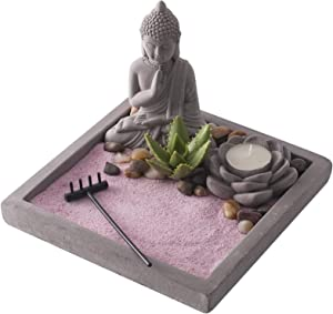 New Japenese Zen Sand Garden | Ideal Desk Decor to Enhance Mindfulness and Practice Meditation During the Day | Sandstone Finish with Pink Sand by Existentials