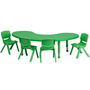Flash Furniture 35''W x 65''L Half-Moon Green Plastic Height Adjustable Activity Table Set with 4 Chairs