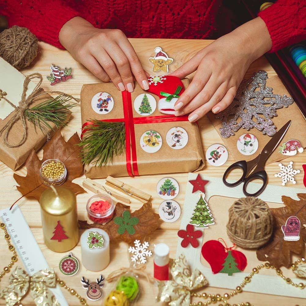 Mischen Sie Weihnachtskn/öpfe Weihnachtsholzmuster 1 cm mehrfarbige Pompons Kunsthandwerk f/ür Kinder DIY Weihnachtsdekorationen specool 900 PCS DIY Weihnachten Dekoration