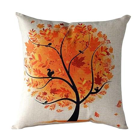 Funda cojín, Árbol de Flores Funda de Almohada Funda de cojínes para sofá Cintura Decoración del hogar (45cm*45cm, Naranja)