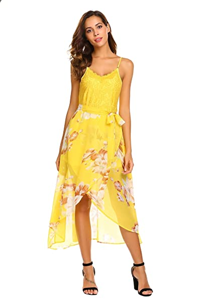 5edf62d1882 Meaneor Women Floral Lace V Neck Wrap Dress V Neck Chiffon Beach Wedding  Dress