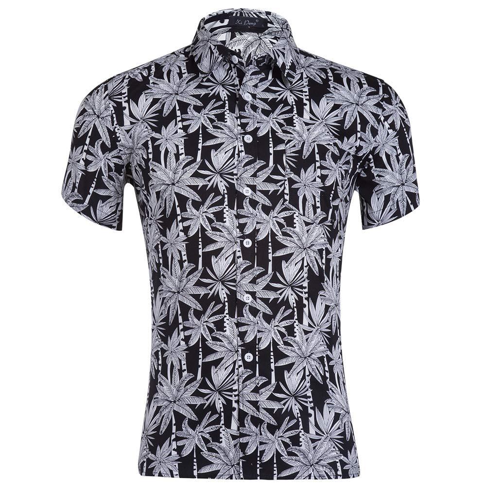Linson123 Mens Shirt Short Sleeve Casual Fashion Print Shirt Slim Hawaiian Beach Shirt