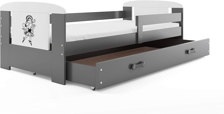 Interbeds Cama Infantil Philip 160 x 80 Gris con somier, colchón y tiroir-coffre, el Adhesivo Diferentes