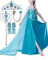 CUTEHILL - Costume di Principessa Elsa + 4 pz Accessori (corona + bacchetta + parrucca + guanti), Cosplay per Bambine, Festa Compleanno Halloween Carnevale