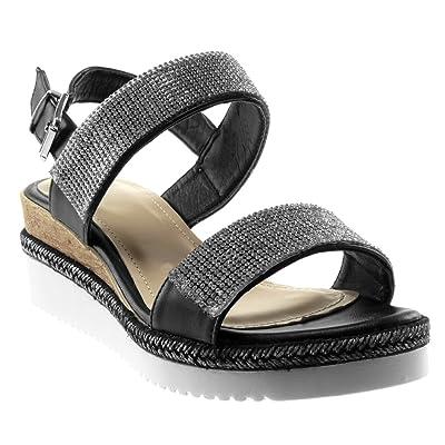 f27d00e870f14a Angkorly Chaussure Mode Sandale Mule Lanière Cheville Plateforme Femme  Strass Diamant Tréssé Lanière Talon compensé Plateforme