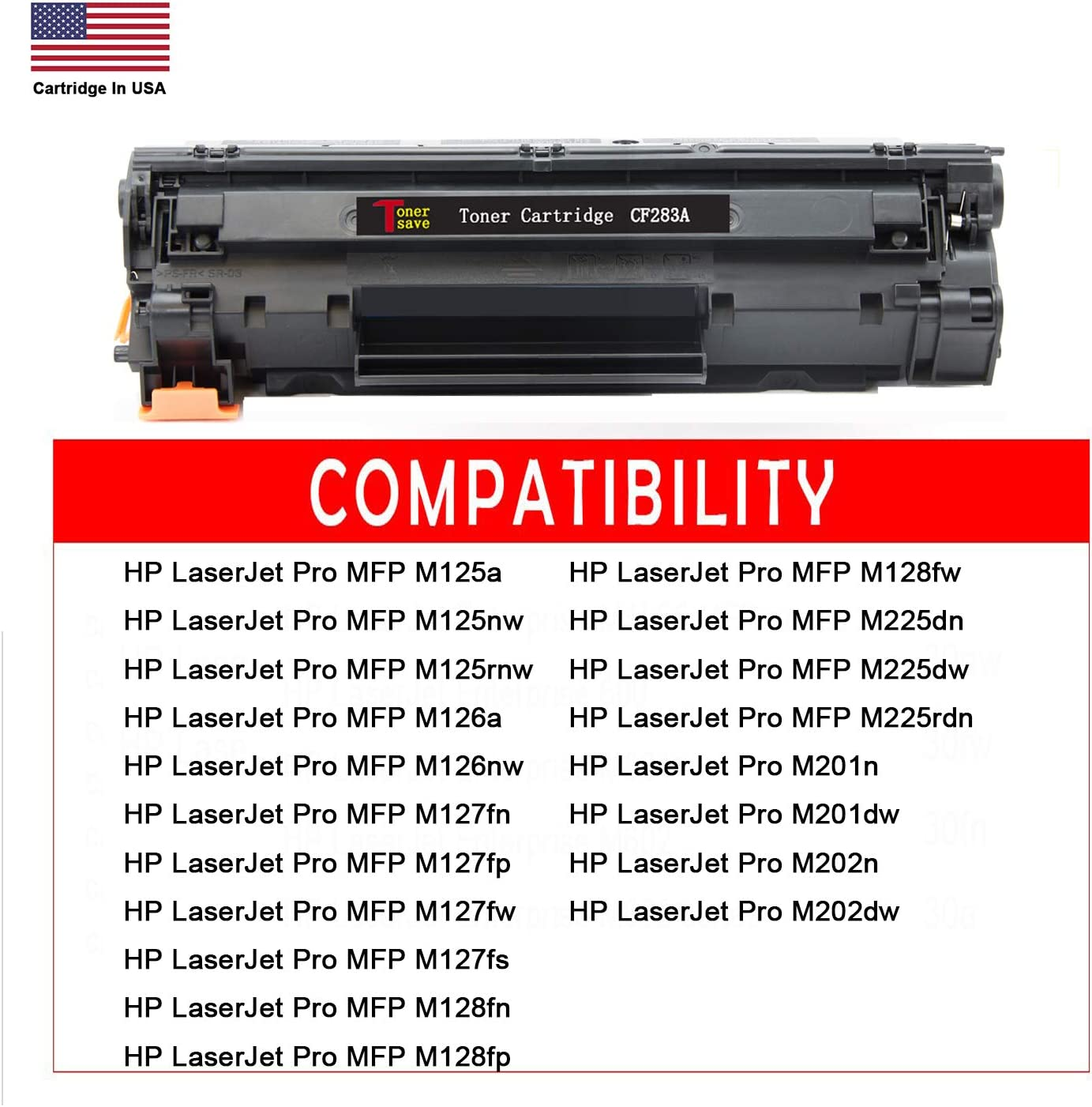 TonerSave Compatible Toner Cartridge Replacement for HP 83A CF283A to use with Laserjet Pro MFP M125nw M201dw M225dw M201n M125a M127fn M127fw, Black 2-Packs