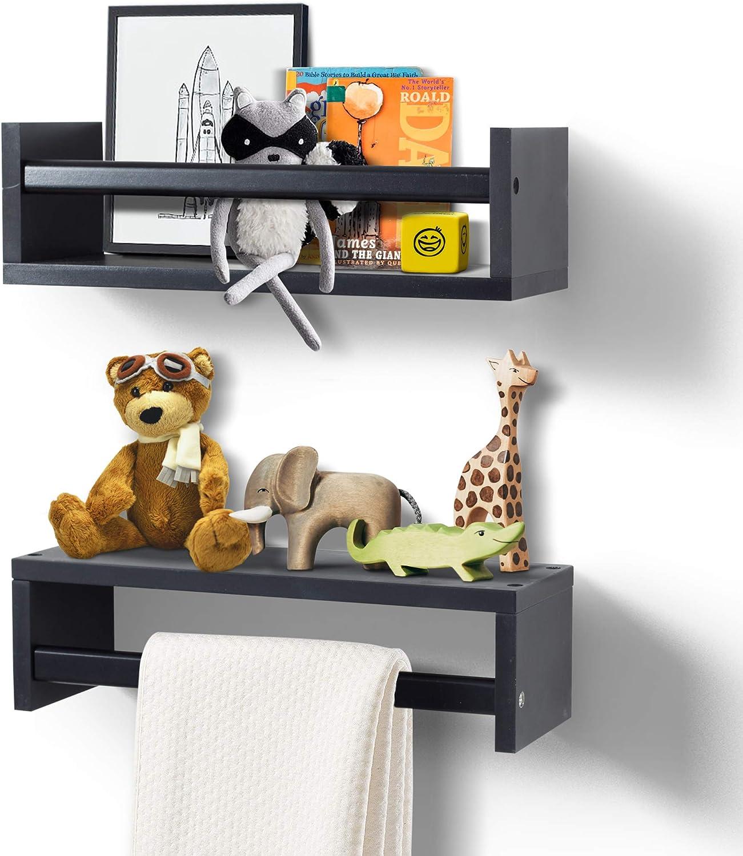 AHDECOR Wall Mount Floating Shelves, Display Wall Shelf for Kitchen Spice Rack, Bathroom Decor, Book Shelf Organizer or Baby Nursery, Set of 2, Black, 15
