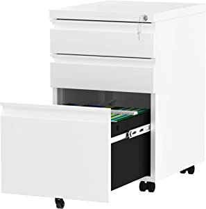 YITAHOME 3-Drawer Rolling Filing Cabinet Office Drawers, Lockable Office Storage Cabinet with Hanging Bars and Pencil Tray, Pre-Assembled Metal File Cabinet Under Desk (White)