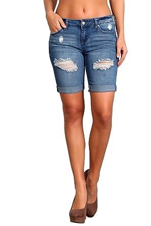 2ae1ec4b0b Amazon.com: Celebrity Pink Jeans Women's and Juniors Mid Rise Distressed  Denim Bermuda Shorts: Clothing