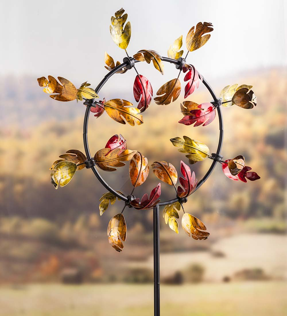 Outdoor Fall Leaves Jubilee Garden Wind Spinner, 28 W x 9.5 D x 63 H