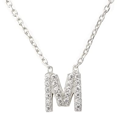 2fc0b28fb6c Letter M Necklace in Silver//Yellow Gold//Rose Gold Alphabet Pendant  Sterling Silver 925 Mini Crystal Charm Initial Personalized Christmas Gift  Birthday ...