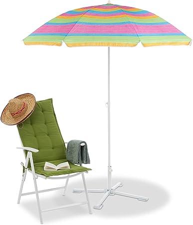 2M Strandschirm Metall Sonnenschirm rund Gartenschirm Sonnenschutz Rote Streifen