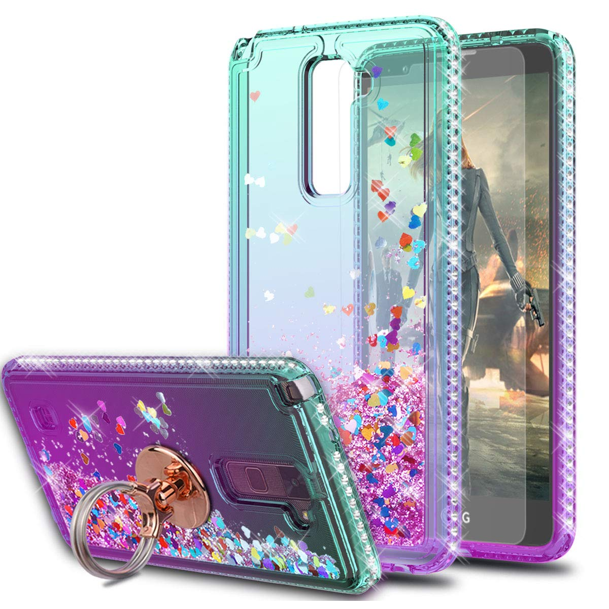 LG Stylo 2 / Stylo 2 Plus/Stylo 2V / Stylus 2 Case with HD Screen Protector with Ring Holder,KaiMai Glitter Moving Quicksand Clear Cute Shiny Phone Case for LG LS775-Aqua/Purple Ring by KaiMai