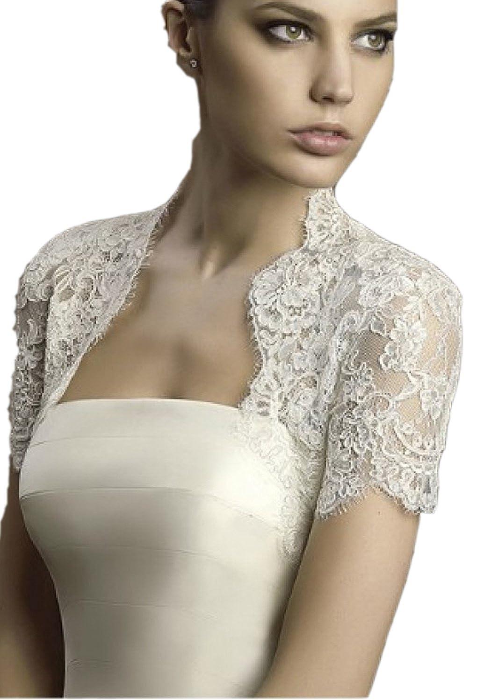 Albizia Ivory Lace Short Cap Sleeves Tulle Bridal Wedding Bolero ...