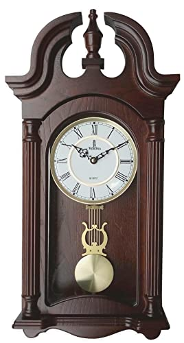 Pendulum Wall Clock, Silent Decorative Wood Pendulum Clock with Swinging Pendulum, Battery Operated, Dark Wooden Design, for Living Room, Dining Room, Kitchen, Office Home D cor, 23.5×9.25 Inch