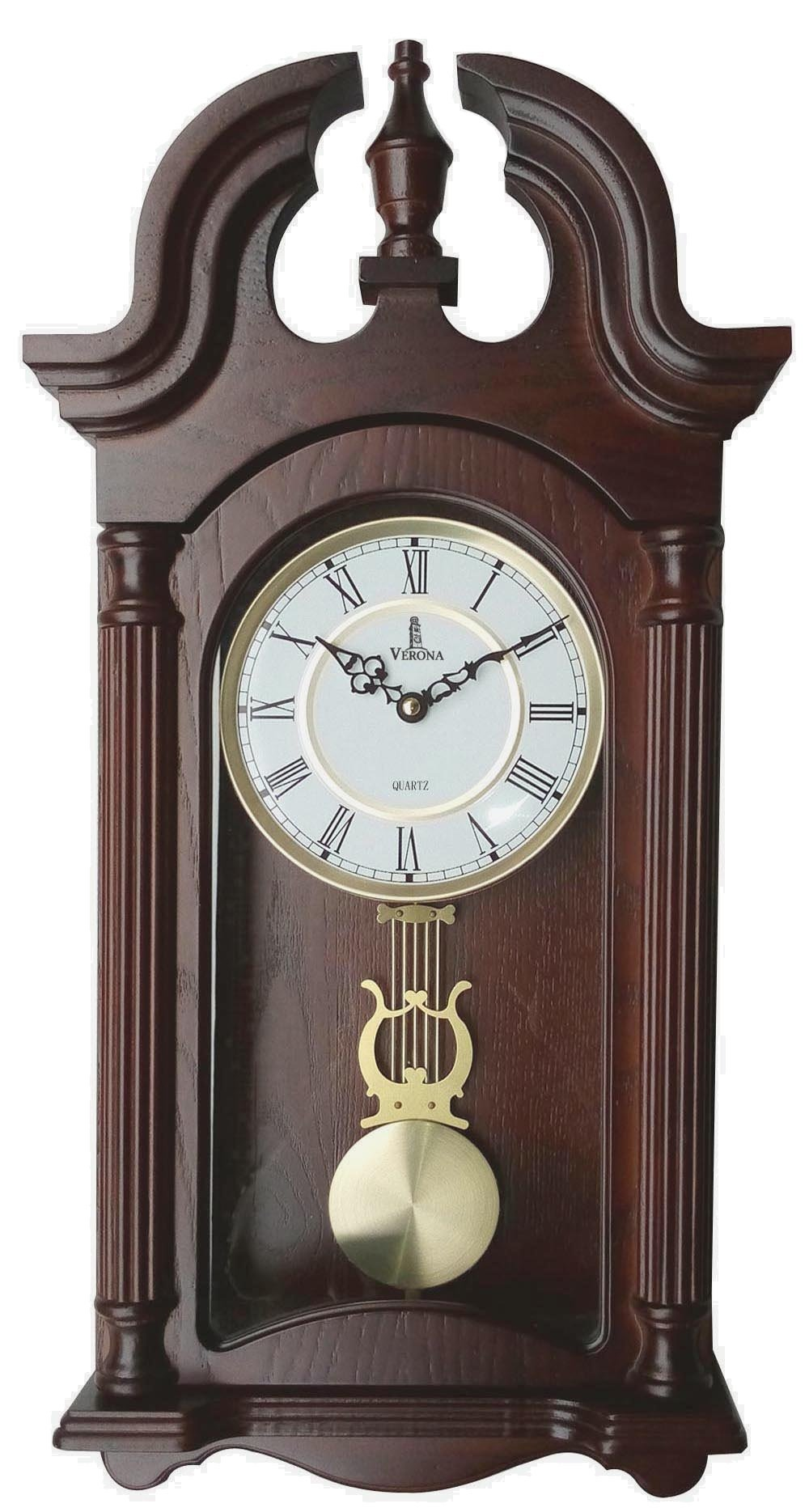 Verona Stylish Wood Pendulum Wall Clock with Glass Front - Elegant & decorative wood clock with dark brown finish – 23.5 x 9.25 x 2.75 inch – Quartz movement, battery operated & quiet