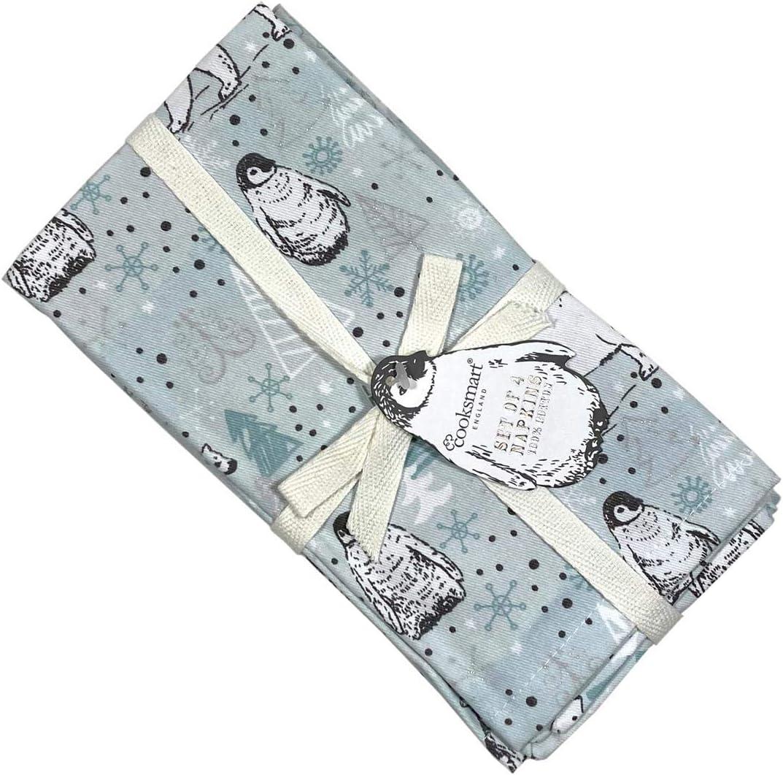 "45cm 2 x Set of 4 Christmas Penguins Polar Bears Duck Egg 100/% Cotton Napkins 18/"""