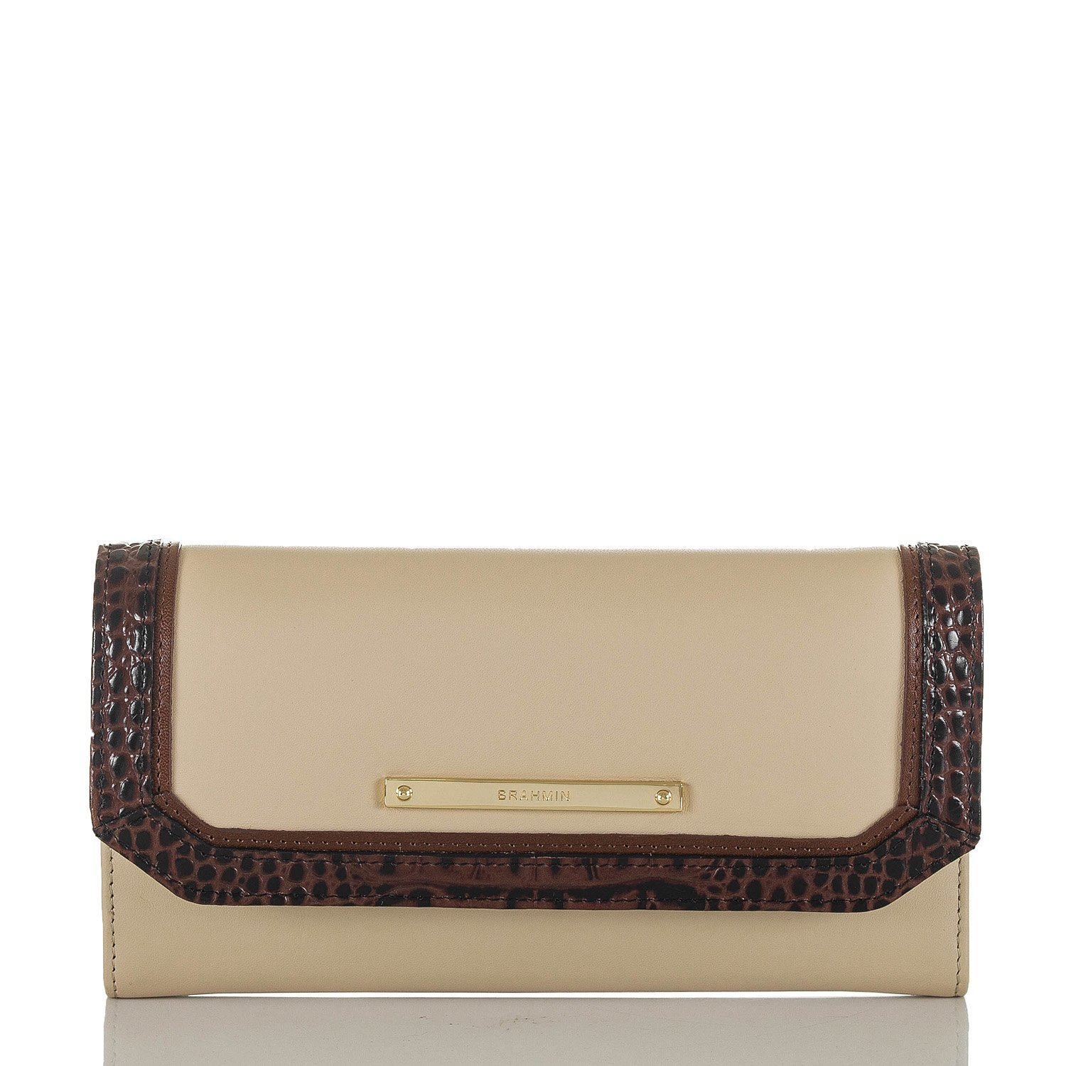 NEW AUTHENTIC BRAHMIN LEATHER SOFT CHECKBOOK WALLET (Ivory Summer Tuscan Tri Texture)