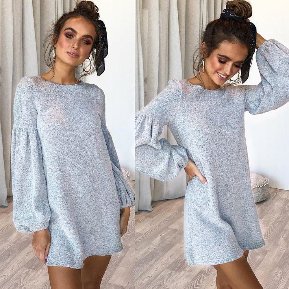 Overmal Womens O-Neck Long Sleeve Knitting Mini Dress Fashion Sexy Dress