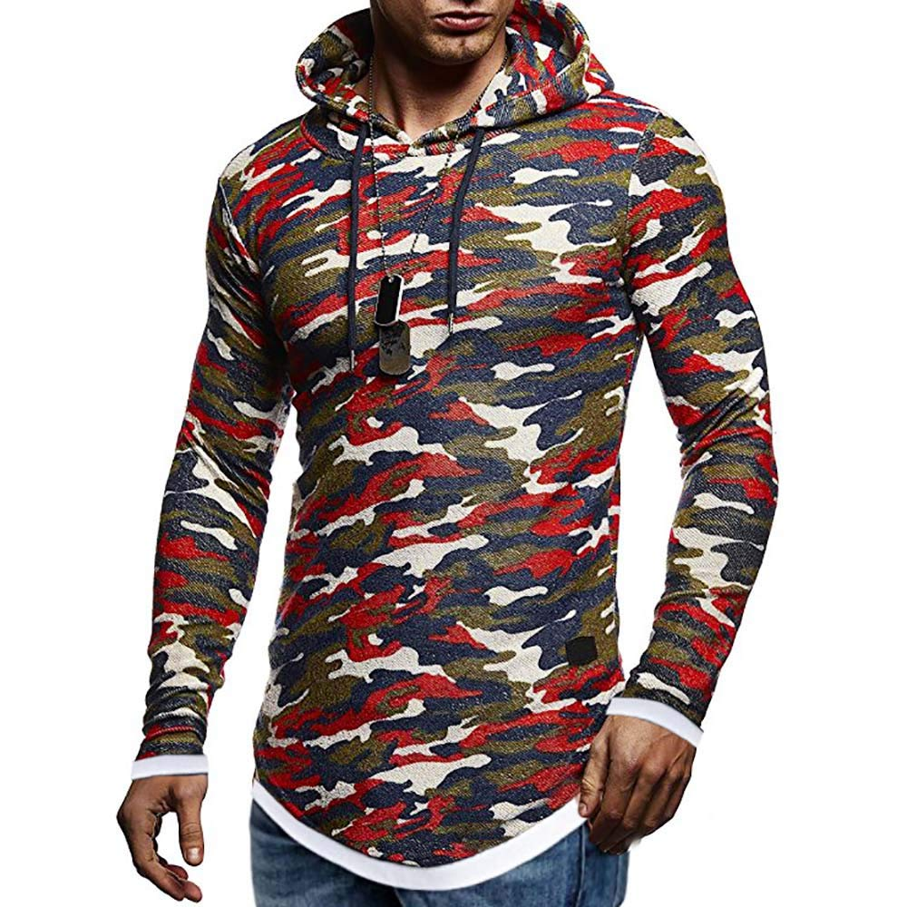 Pius Size Hoodies for Men, Corriee Cool Camouflage Print Hooded Sweatshirts Mens Fall Casual Long Sleeve Outwear