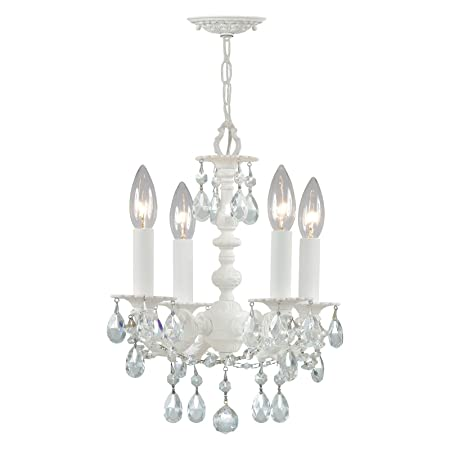 Crystorama 5514-WW-CL-MWP Crystal Accents Four Light Mini Chandeliers from Paris Flea Market collection in Whitefinish,