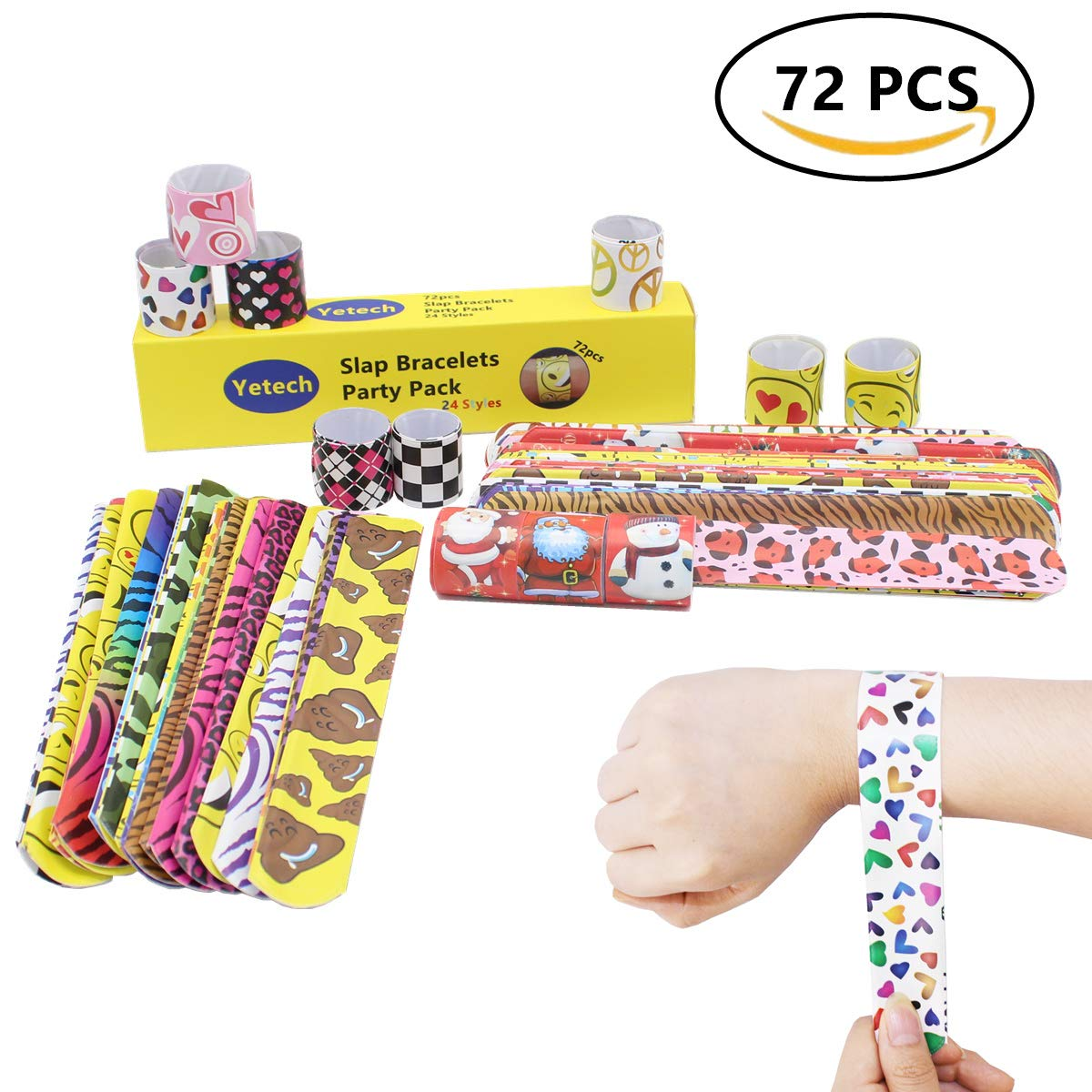 Yetech 72pcs Slap Bracelets Slap Bands Party Bag Fillers for Kids, Fun and Super High Quality Perfect for Kids Party Gift