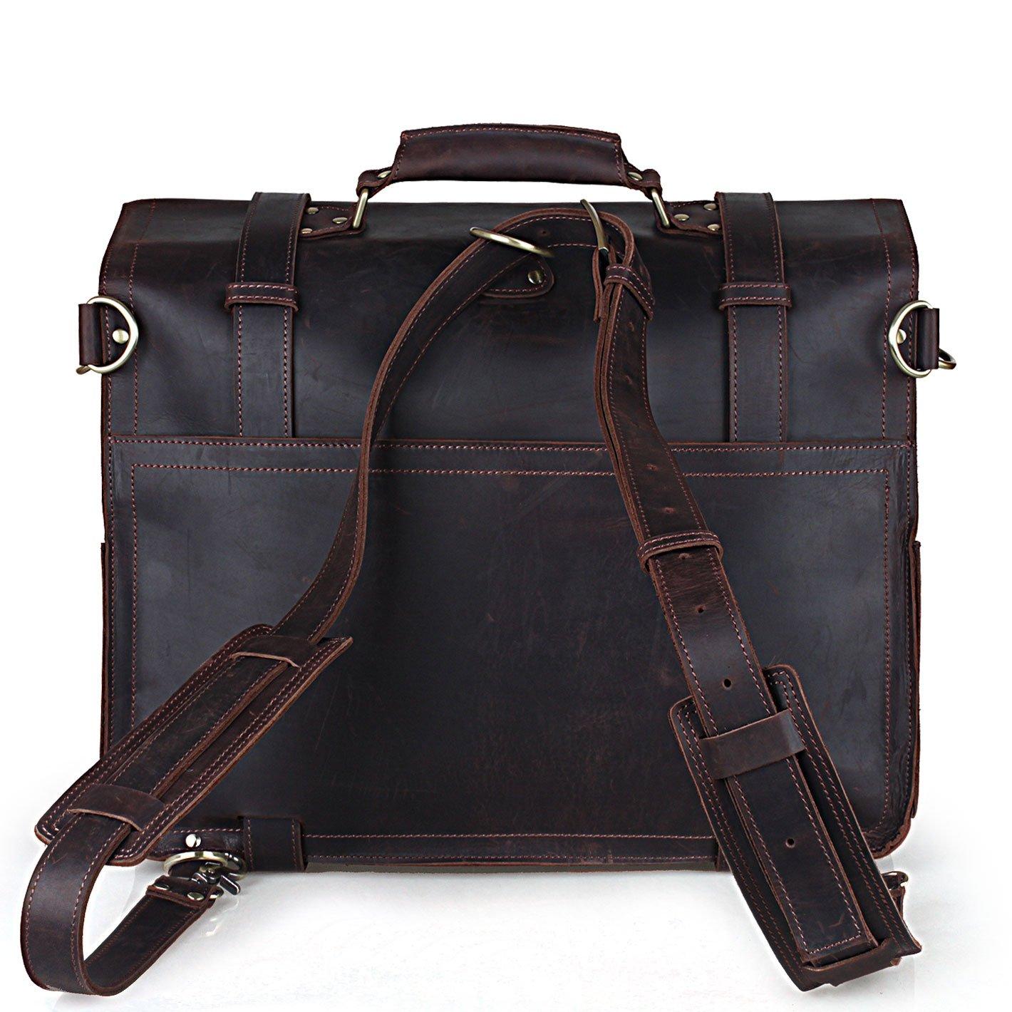 BAIGIO Vintage Leather Luggage Backpack Briefcase Travel Carryon Shoulder Bag (Dark Brown) by BAIGIO (Image #2)