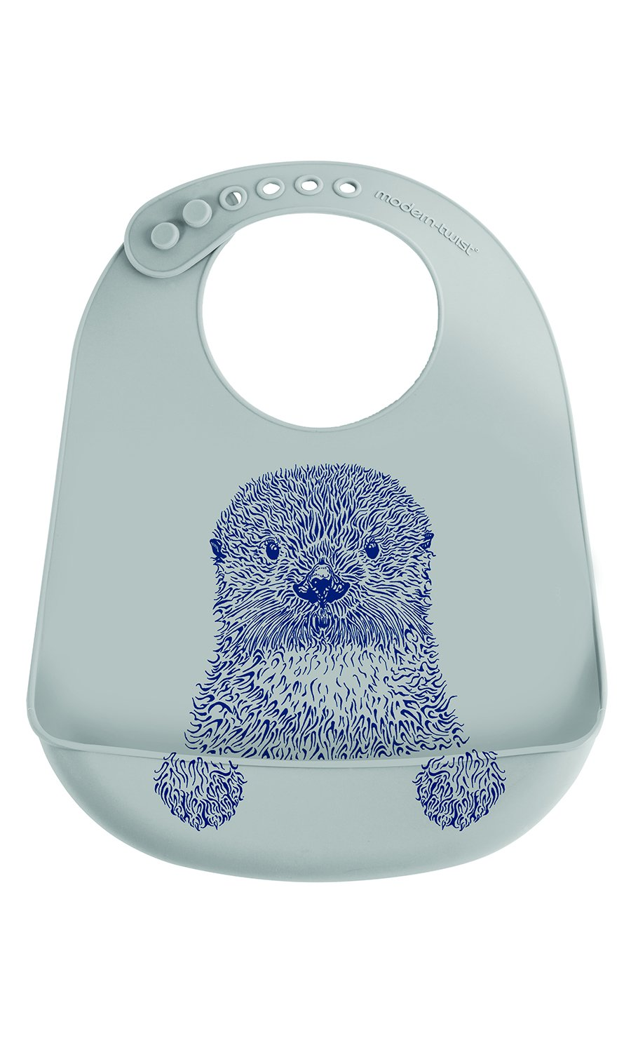 modern-twist Otter Waterproof Silicone Baby Bucket Bib with Adjustable Strap, Plastic Free, Wipe Clean and Dishwasher Safe, Navy Blue