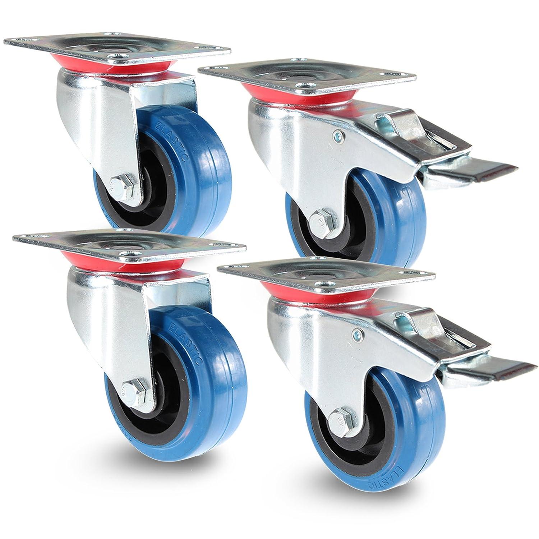 PRIOstahl TR-Set-18 Blue Wheels | 4 Stü ck | Transportrollen 100mm Lenkrolle mit Bremse / 2 X Bockrolle | Mö belrolle | fü r Werkbank | Apparaterollen
